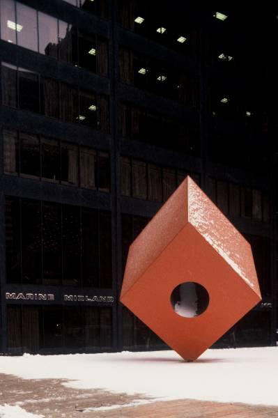 """Red Cube"" by Isamu Noguchi"